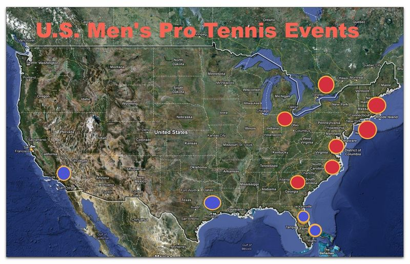 Map of ATP World Tour and Major men's events in US